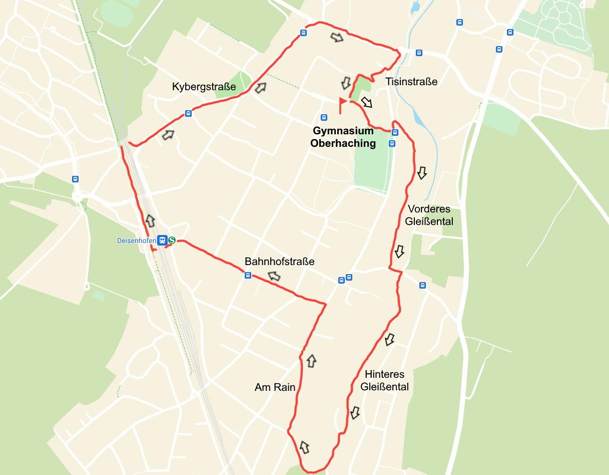 Route für den Spendenlauf